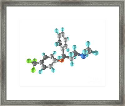 Fluoxetine Drug Molecule Framed Print by Laguna Design