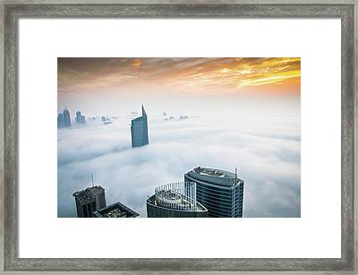 Fog In Dubai Framed Print by Umar Shariff Photography