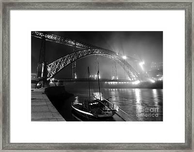 Fog Over The Pier And Iconic Bridge - O Porto - Portugal Framed Print by Carlos Alkmin