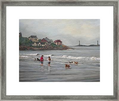 Fog Rolling In On Good Harbor Beach Framed Print