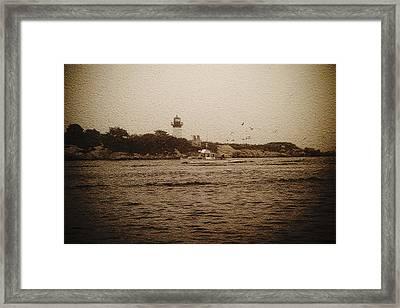 Foggy Day At Ten Pound Lighthouse Framed Print