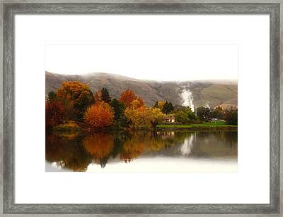 Framed Print featuring the photograph Foggy Fall Morning 2 by Lynn Hopwood