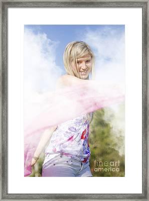 Foggy Field Frolic Framed Print