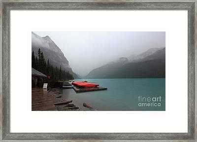 Foggy Lake Louise In Banff Alberta Framed Print