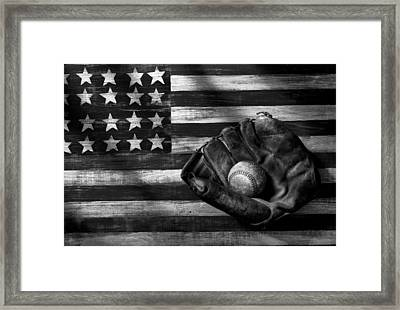 Folk Art American Flag And Baseball Mitt Black And White Framed Print by Garry Gay