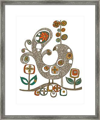 Folk Bird Framed Print