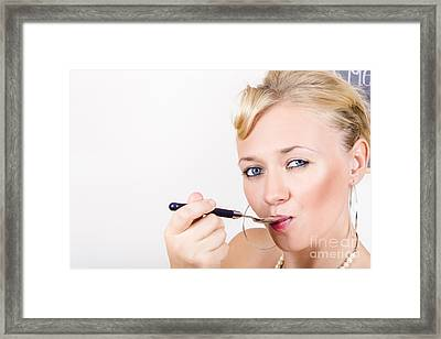 Food Connoisseur Eating Fine Dining Cuisine Framed Print by Jorgo Photography - Wall Art Gallery
