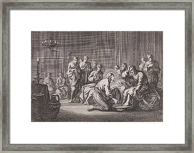 Foot Washing, Jan Luyken, Pieter Mortier Framed Print