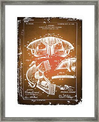 Football Shoulder Pads Patent Blueprint Drawing Sepia Framed Print