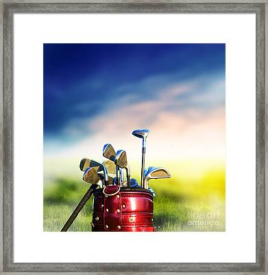 Football Soccer Ball On Green Grass Framed Print by Michal Bednarek