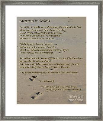 Footprints In The Sand Poem Framed Print by Bob Sample