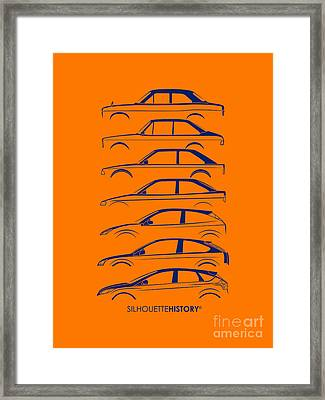 Ford Escort And Focus Silhouettehistory Framed Print by Gabor Vida