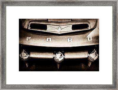 Ford F-1 Pickup Truck Grille Emblem Framed Print