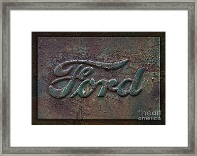 Detail Old Rusty Ford Pickup Truck Emblem Framed Print