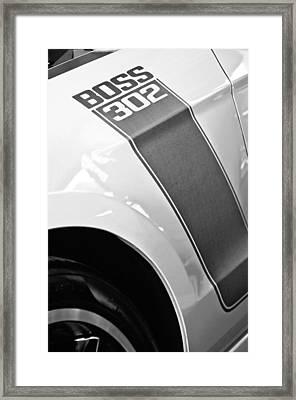 Ford Mustang Boss 302 Emblem Framed Print by Jill Reger