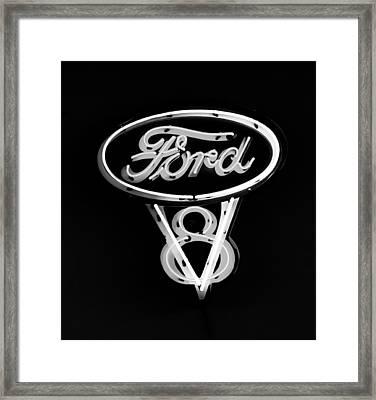 Ford V8 Neon Sign Framed Print by Jill Reger