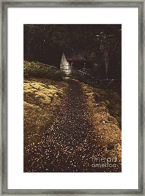 Forest Log Cabin Or Cottage With Leafy Autumn Path Framed Print