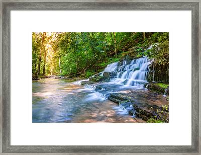 Forest Stream And Waterfall Framed Print