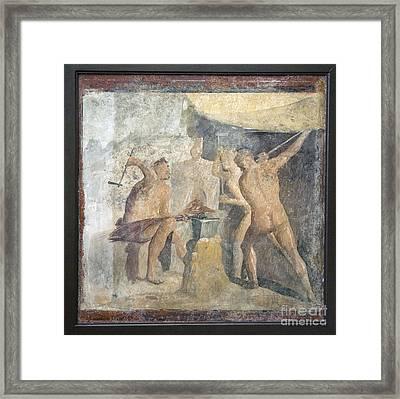 Forge Of Hephaistos, Roman Fresco Framed Print