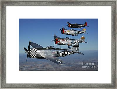 Formation Of P-47 Thunderbolts Flying Framed Print