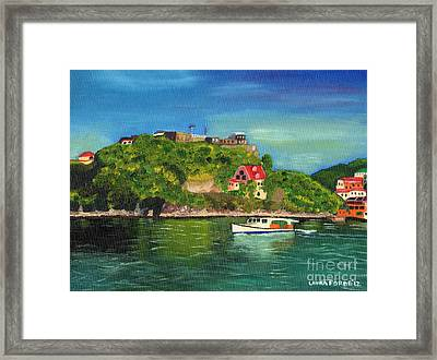 Framed Print featuring the painting Fort George Grenada by Laura Forde