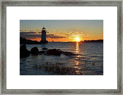 Fort Pickering Lighthouse Winter Island Salem Ma Sunrise Framed Print by Toby McGuire