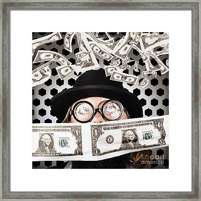 Fortune 500 Businessman Covered In Us Dollars Framed Print by Jorgo Photography - Wall Art Gallery