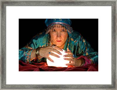 Fortune Teller And Crystal Ball Framed Print