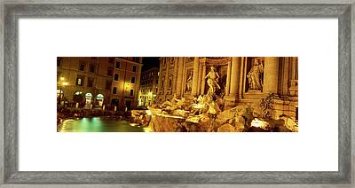 Fountain Lit Up At Night, Trevi Framed Print by Panoramic Images