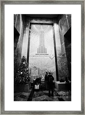 Foyer Of The Empire State Building New York City Usa Framed Print by Joe Fox
