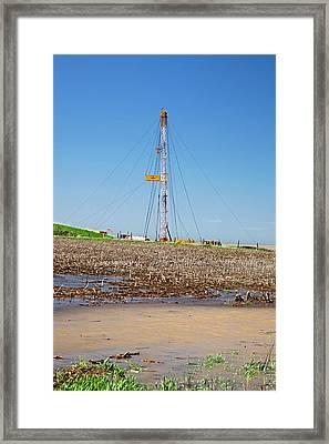 Fracking Drill Rig Framed Print by Jim West