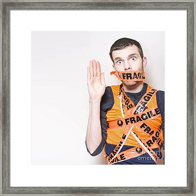 Fragile Male Employee Getting Posted Interstate Framed Print