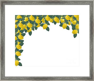 Frame Made Of Several Painted Lemons And Leaves Framed Print