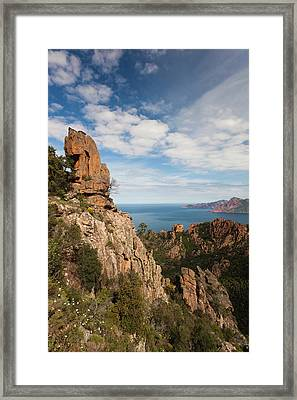 France, Corsica, Calanche, Porto, Red Framed Print