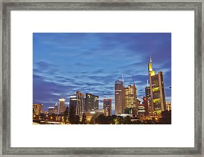 Frankfurt - Skyline In The Evening Framed Print by Olaf Schulz