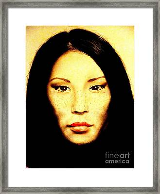 Framed Print featuring the pastel Freckle Faced Beauty Lucy Liu  by Jim Fitzpatrick