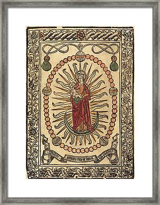 French 15th Century, The Madonna And Child In A Rosary Framed Print by Quint Lox