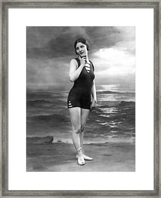 French Woman In A Bathing Suit Framed Print by Underwood Archives