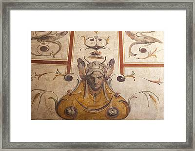 Fresco On The Ceiling In Palazzo Vecchio Framed Print by Melany Sarafis