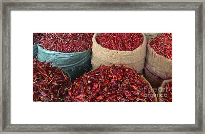 Fresh Dried Chilli On Display For Sale Zay Cho Street Market 27th Street Mandalay Burma Framed Print