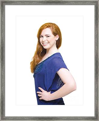 Fresh Faced Beautiful Woman With Auburn Hair Framed Print