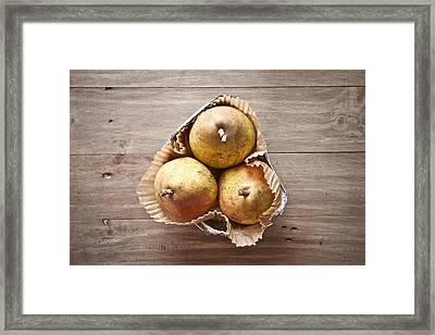 Fresh Pears Framed Print by Tom Gowanlock