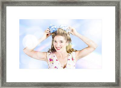 Friendly Female Pin-up Wearing Hair Accessories  Framed Print by Jorgo Photography - Wall Art Gallery
