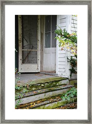 Front Door Of Abandoned House Framed Print