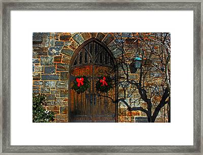 Front Door To Baldwin Memorial United Methodis Framed Print
