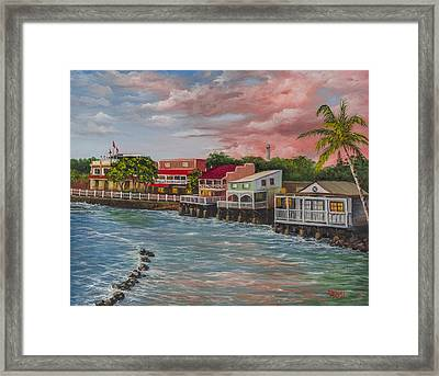 Front Street Lahaina At Sunset Framed Print