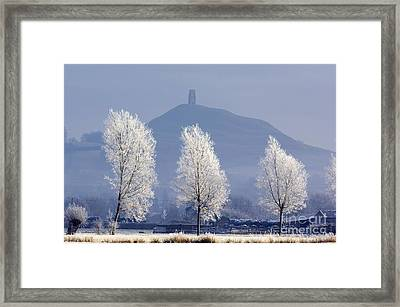 Frost-covered Trees And Glastonbury Tor Framed Print by Duncan Shaw