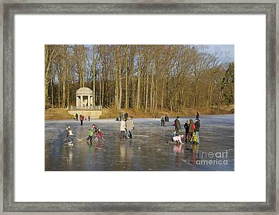 Frozen Lake Krefeld Germany. Framed Print by David Davies