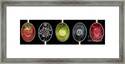 Fruit Spoons On Black Framed Print by Tim Gainey