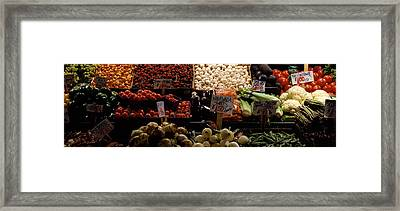 Fruits And Vegetables At A Market Framed Print